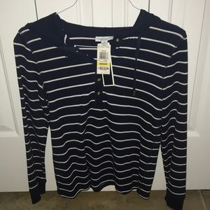NEW CHARTER CLUB STRIPED LONG SLEEVE SHIRT